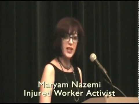 Maryam Nazemi, 2015 Injured Worker Activism Reward Speech