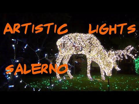 SALERNO: LUCI D'ARTISTA Italia  Salerne illuminations Noël [artistic lights Amalfi coast ] #3