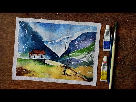Simple Mountain Landscape Watercolor Painting Tutorial for Beginners
