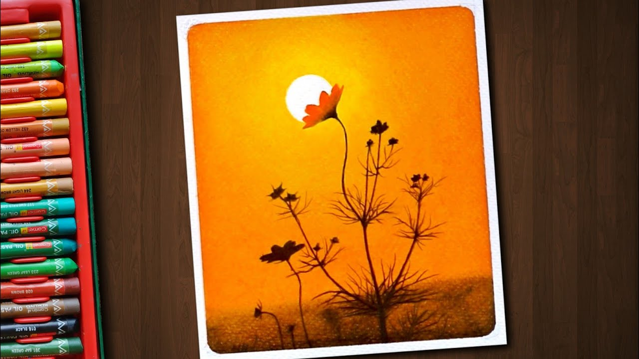 Beautiful Wild Flower Evening Scenery / Drawing with Oil Pastels / Step by Step