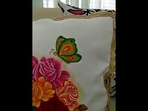 Coj n pintado a mano sobre tela youtube - Cojines pintados a mano ...