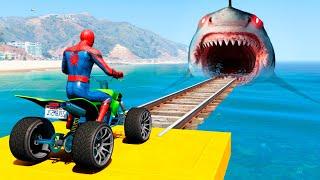 Superheroes Moto Bike Race Challenge in GTA 5! Parkour Jumps/Fails (Funny Moments)