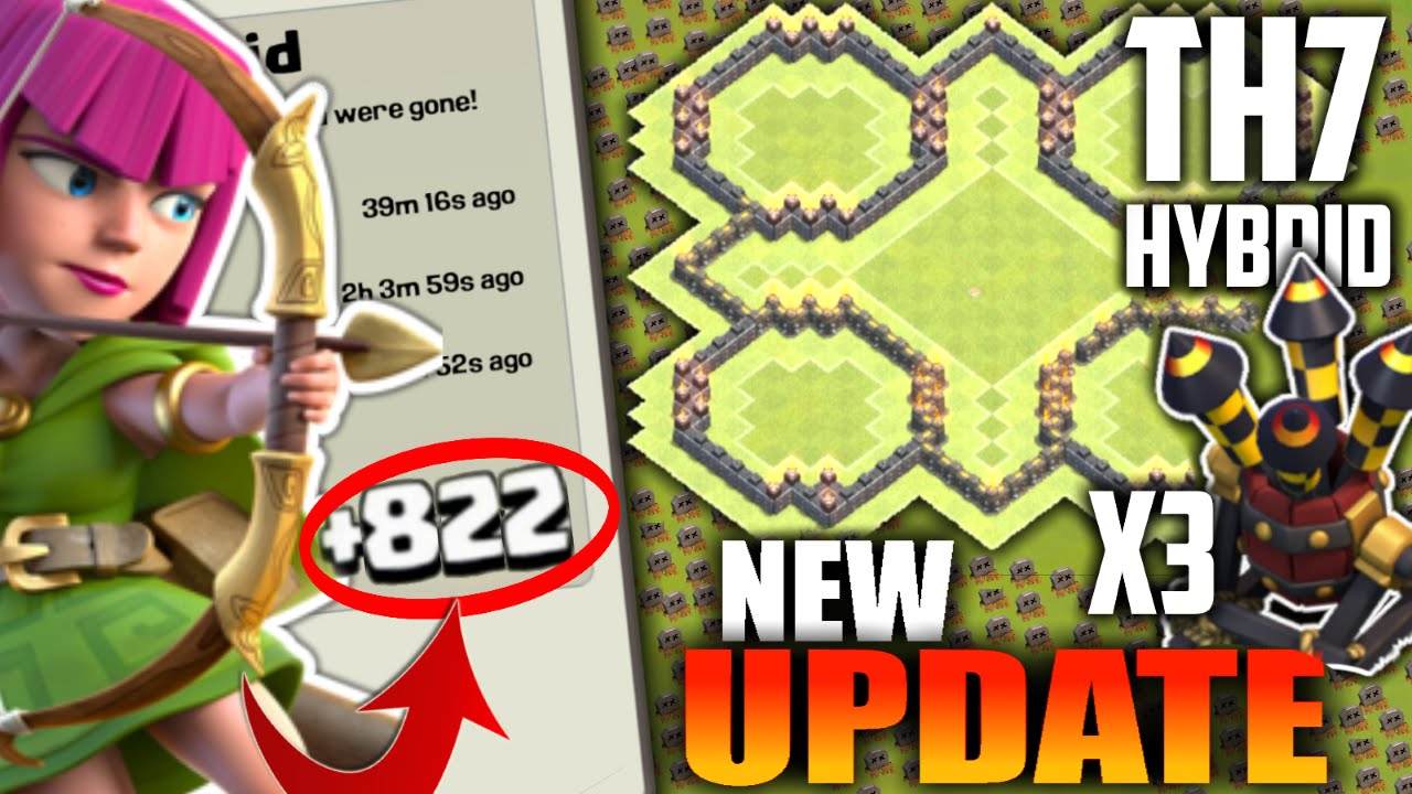 New Update Th7 Hybrid Base 3 Air Defenses 2016 Clash Of Clans Town