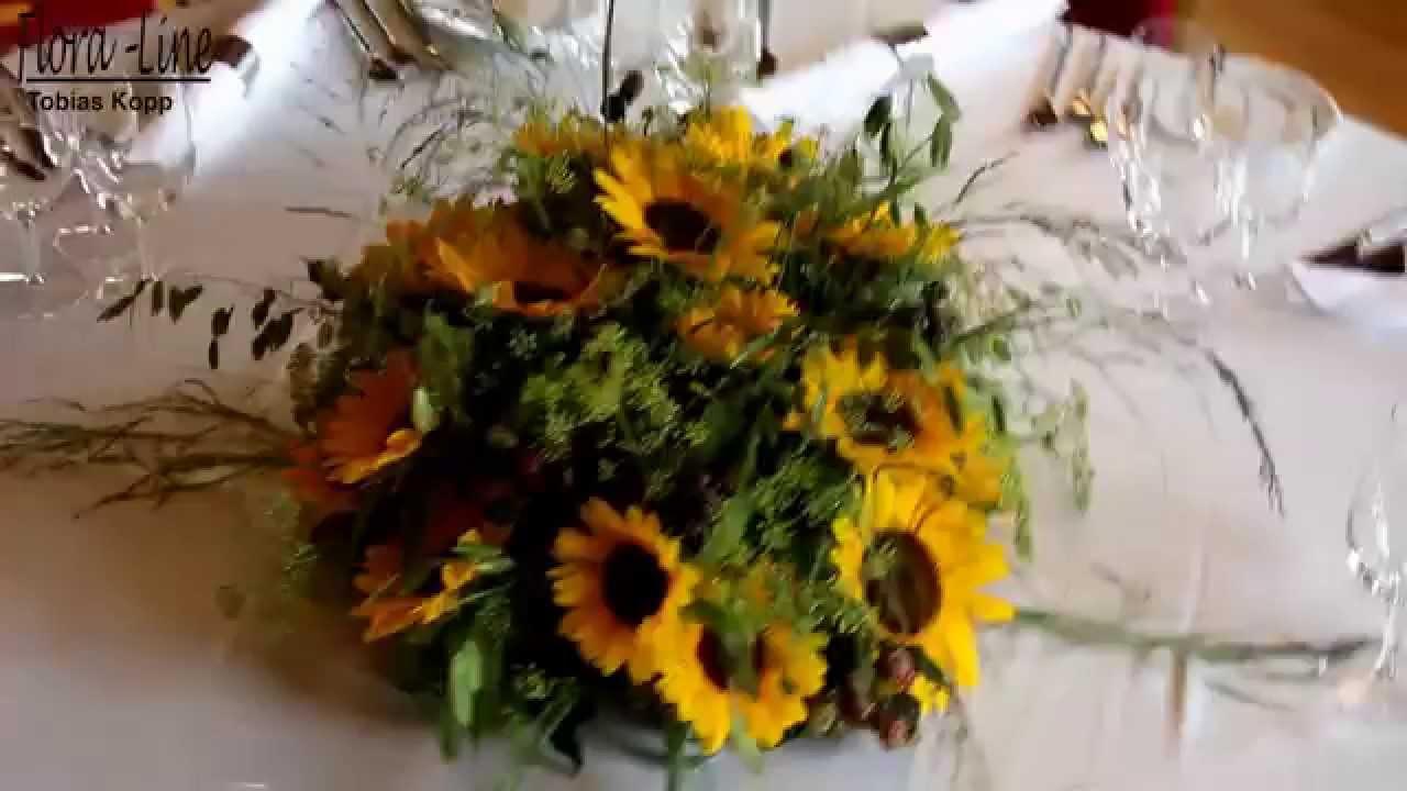 Luftige Sonnenblumen Tischdekoration im Schloss  YouTube
