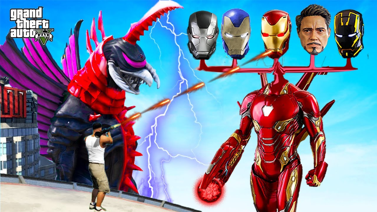 FRANKLIN become 5 Head IRON MAN to Defeted MONSTER in GTA 5 !! GTA V Avengers
