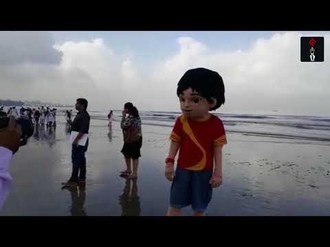 NGO Workers And School Children Clean Juhu Beach Post Ganpati Visarjan