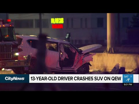 3 injured after van driven by 13-year-old crashes on QEW