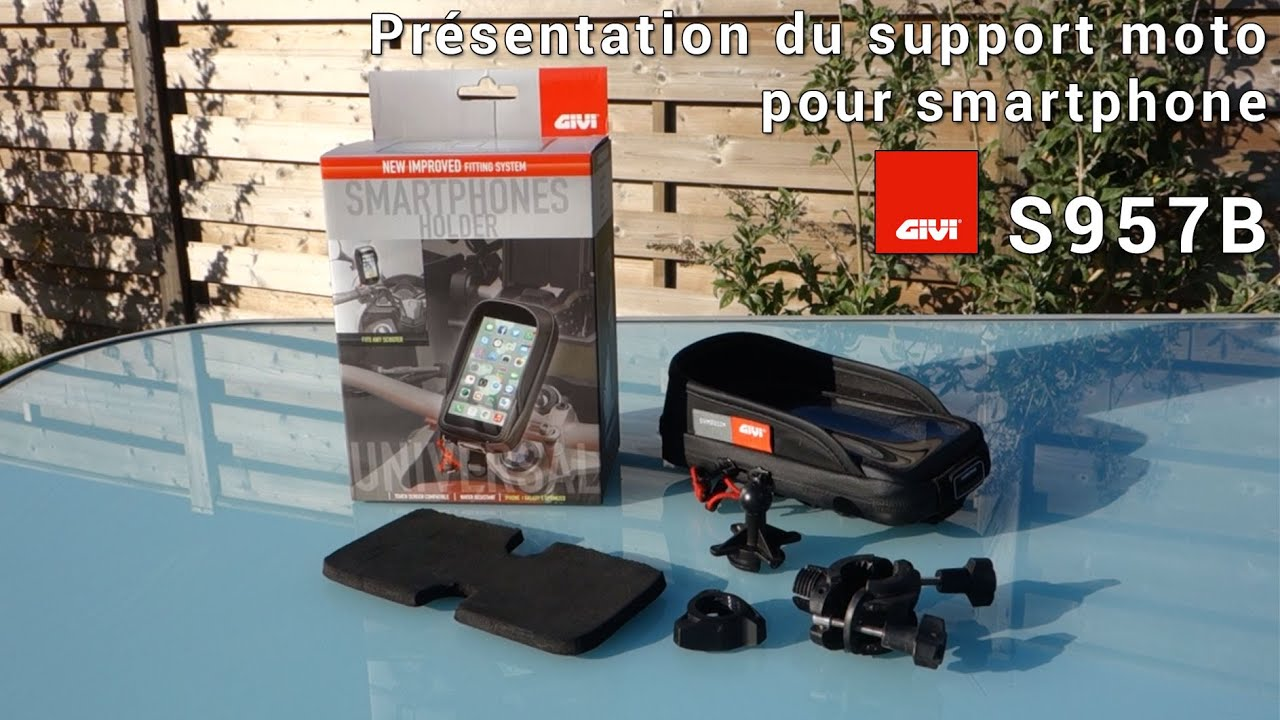 test du support moto pour smartphone givi s957b youtube. Black Bedroom Furniture Sets. Home Design Ideas