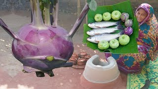 Village Fresh Vegetable Cooking Kohlrabi And Purple Turnip With Rui Fish Recipe Easy Dinner Recipes