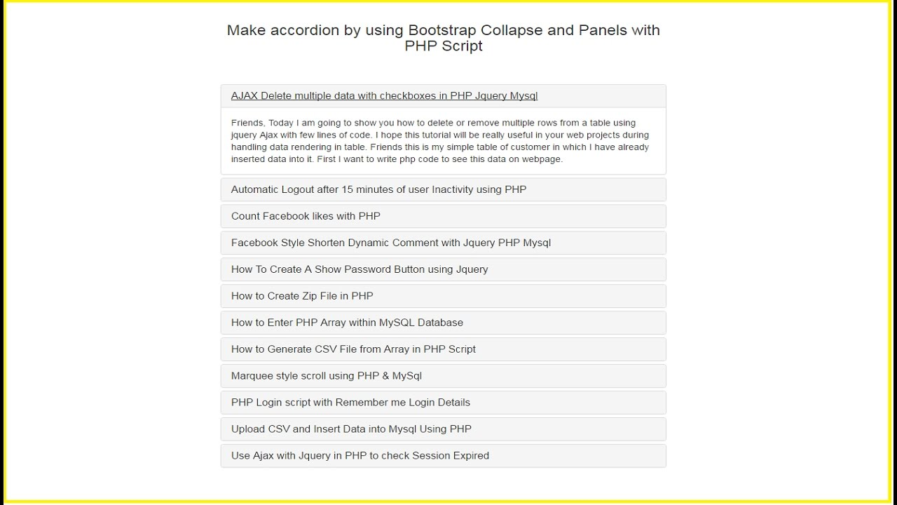 Make accordion by using Bootstrap Collapse and Panels with PHP