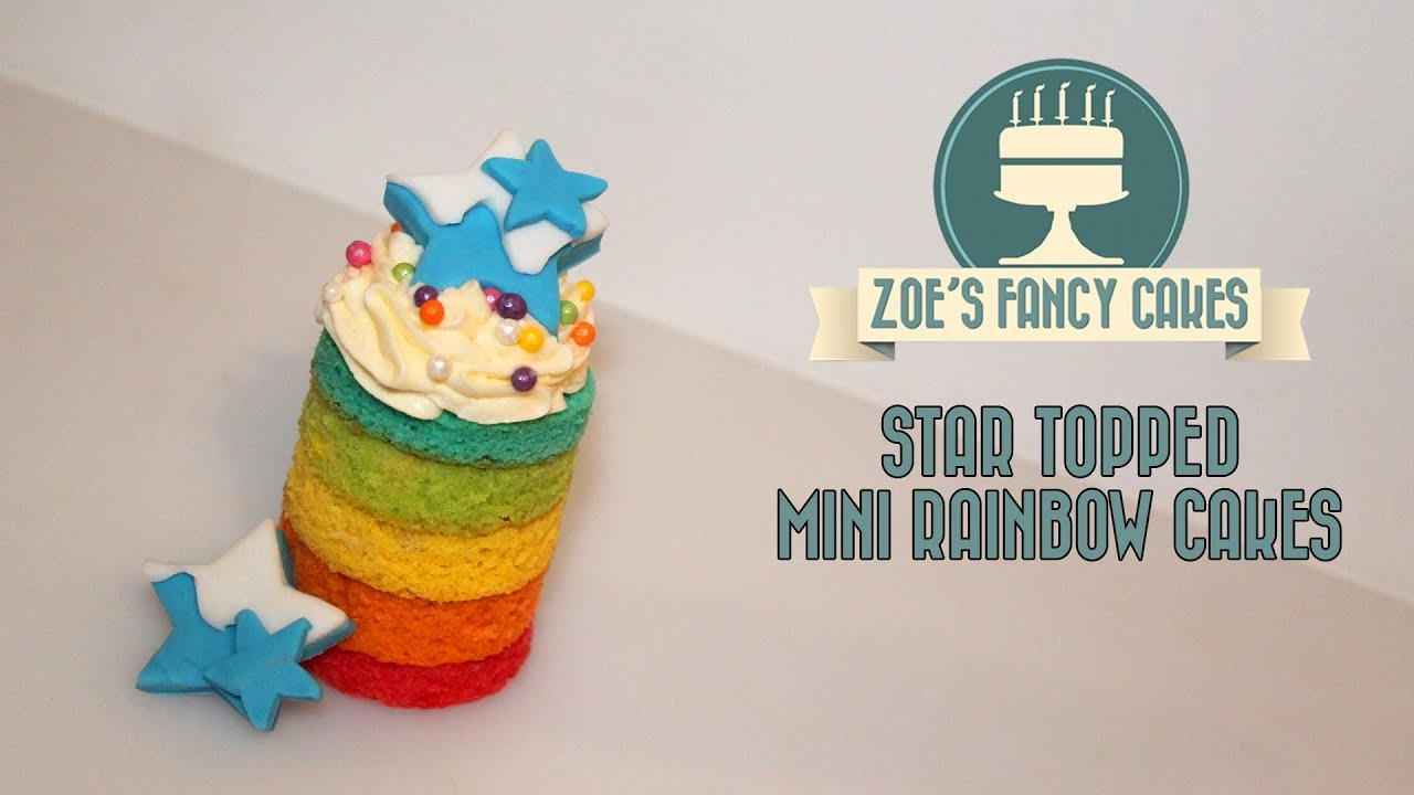 Rainbow cake tutorial mini rainbow cakes with star toppers colored