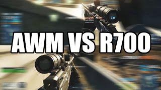 battlefield hardline awm vs r700 sniper comparison bfh multiplayer gameplay