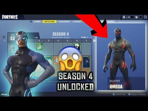 BUYING FORTNITE SEASON 4 BATTLE PASS ALL 100 TIERS!! OMEGA SKIN, NEW MAP & MORE! (fortnite)