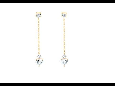 Šperky - Visiace náušnice zo žltého 14K zlata - číre zirkónové srdiečka. Šperky  eshop 93c0271c262
