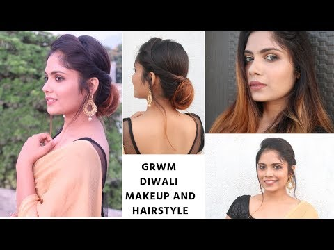 Diwali special Makeup + Hairstyle For Medium to Long Hair/ Indian Festive hairstyle thumbnail