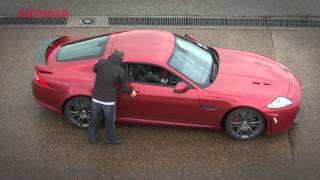 Will it drift? Jaguar XKR-S - blindfolded - autocar.co.uk thumbnail