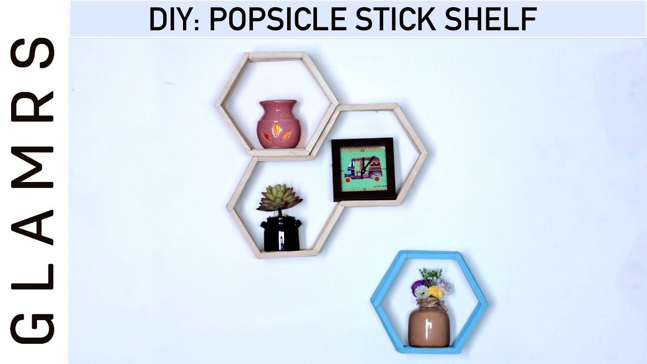 diy popsicle ice cream sticks shelf easy home decor ideas