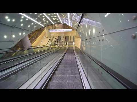 Poland, Warsaw,  Centrum Nauki Kopernik metro station, 4X elevator, 11X escalator