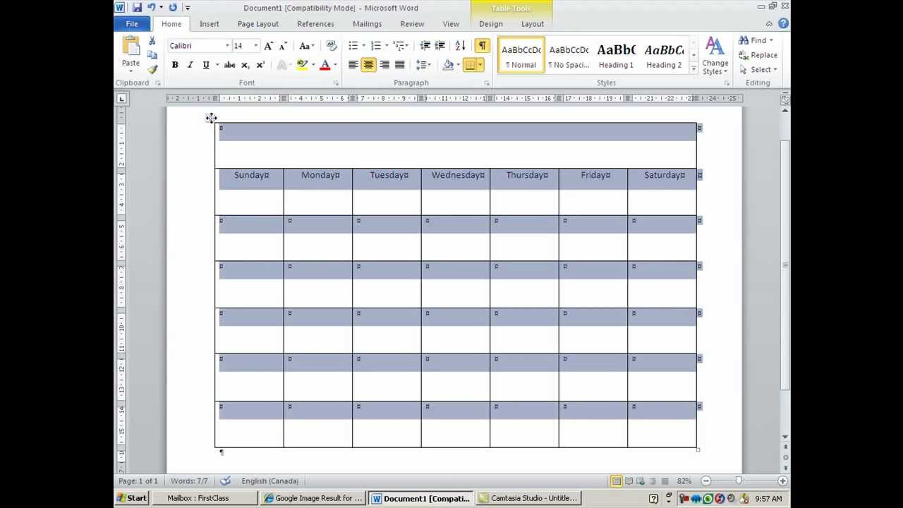 how to create and customize calendar in ms word youtube