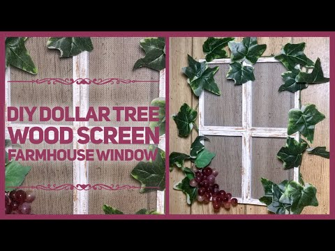 DIY Dollar Tree Wood Screen Farmhouse Window Wall Decor - Rustic Room or Wall Decor