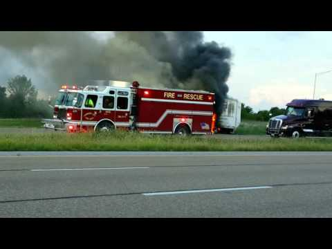 Fire on the Interstate, Semi Truck, Tractor Trailer Burning Huge Flames