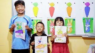Hunter Kids Go To School Learn Colors Rabbit Vs Carrot   Classroom Funny Nursery Rhymes