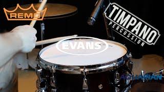 Aquarian vs Evans vs Remo: 62 heads - ULTIMATE Snare Head Comparison - Timpano Percussion