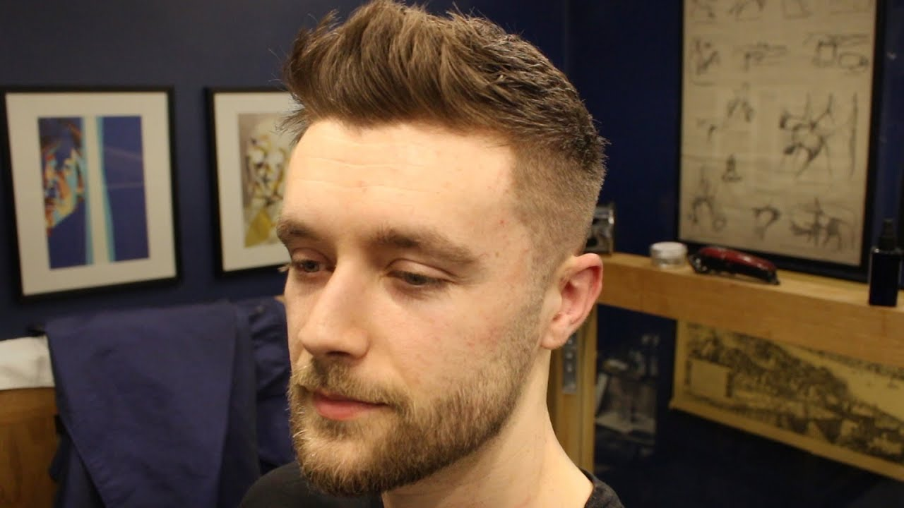 Short Textured Men S Fade Haircut With Front Cowlick Beard Trim