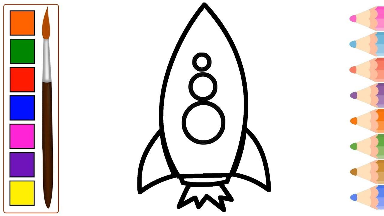 rocket drawing step by step drawing and coloring easy tutorial