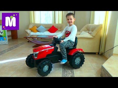Трактор большой педальный распаковка, сборка и тест драйв трактора Roller Toys