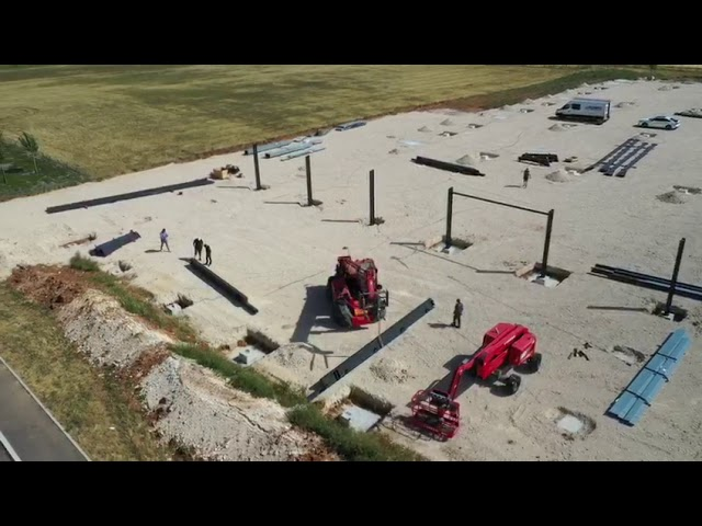 Construction du Pôle GRE - étape 1 : sortie de terre du premier bâtiment témoin