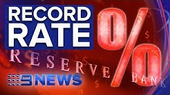 RBA cuts interest rates to record low of 1.25% | Nine News Australia