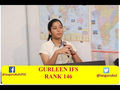 Gurleen IFS RANK 146 at IAS GURUKUL