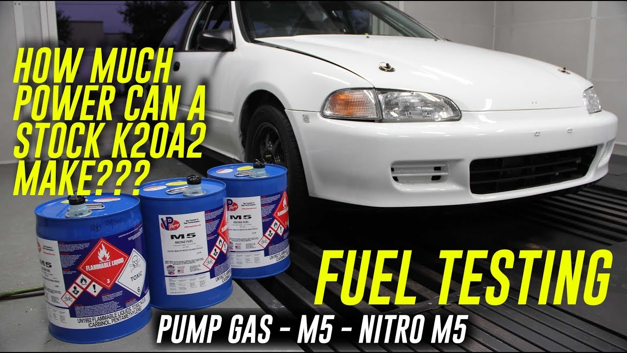 HOW MUCH POWER CAN A STOCK K20A2 CIVIC MAKE ON RACE FUEL???