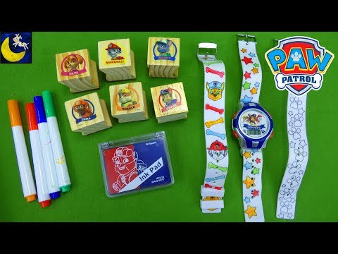 Paw Patrol Art Toys Creative Stampers Stamp & Stickers DIY Color Watch Maker Gift Set for Kids Video