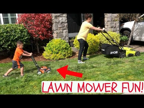 LAWN MOWER For KIDS: Toy Lawn Mowers Vs Real Lawn Mower! HELPING MOM MOW GRASS