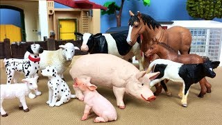 Lots of Toys Farm Animals for Kids - Baby Farm Toys Find Mom Video - Learn Animals Names