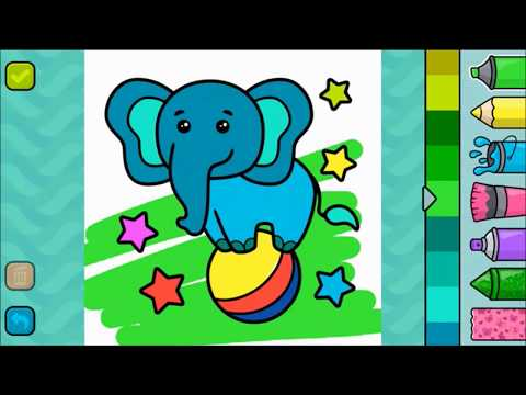 Sevimli Fil Boyama Elephant Coloring çocuklar Için Süper Renkli