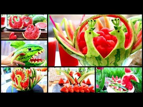 10 Creative Watermelon Ideas | Fruit & Vegetable Carving Garnish