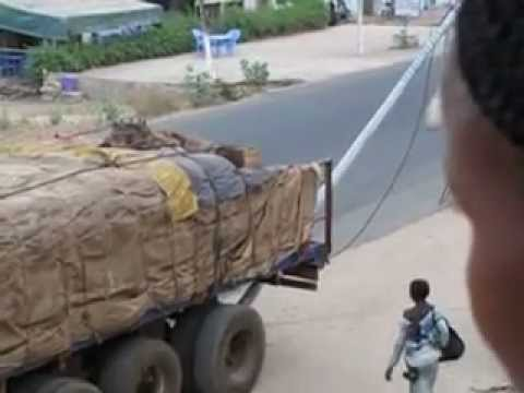 Very Stupid Togo Africa Truck Semi Driver Breaks Light Pole