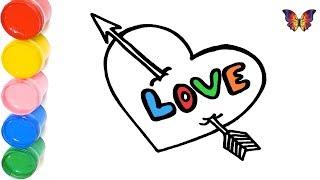 Как нарисовать ВАЛЕНТИНКУ / мультик раскраска СЕРДЦЕ  для детей / Раскраски малышам
