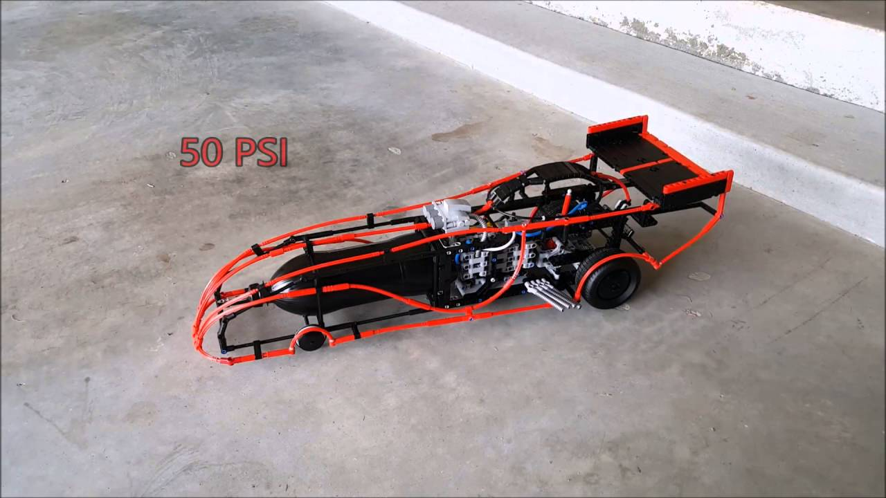Pneumaticpowered Lego dragster funny car  YouTube