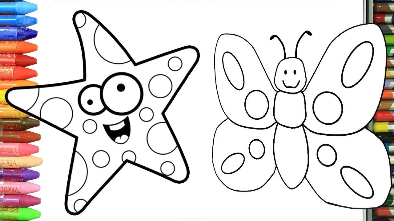 Come Disegnare E Colorare Farfalla E Stella Marina Per Bambini