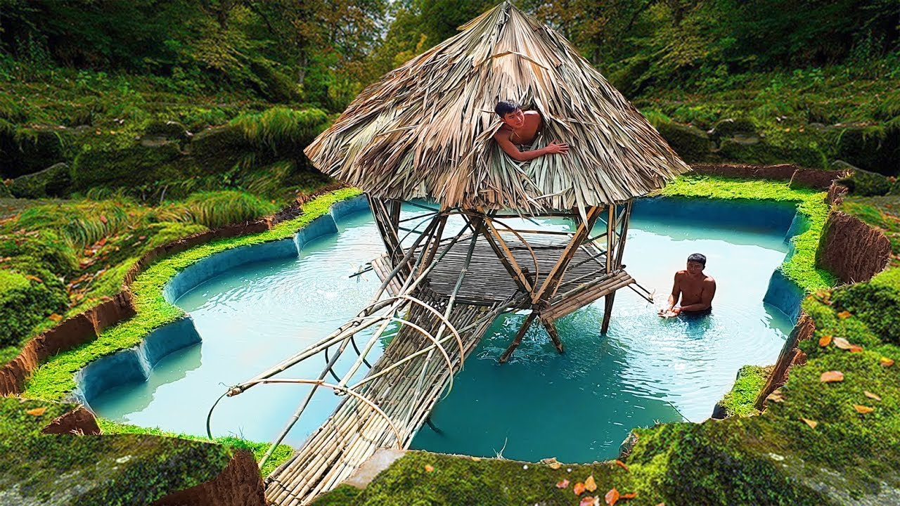 Build Swimming Pool Underground Around The Most Beautiful Bamboo House With Ancient Skills