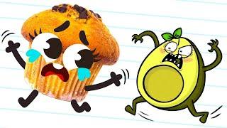 Tierna comida Doodles vs Avocado - Dibujos animados
