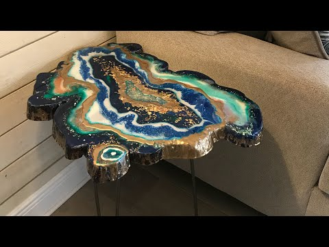 Resin Geode Table made from a slice of cedar wood - by Karen Governale