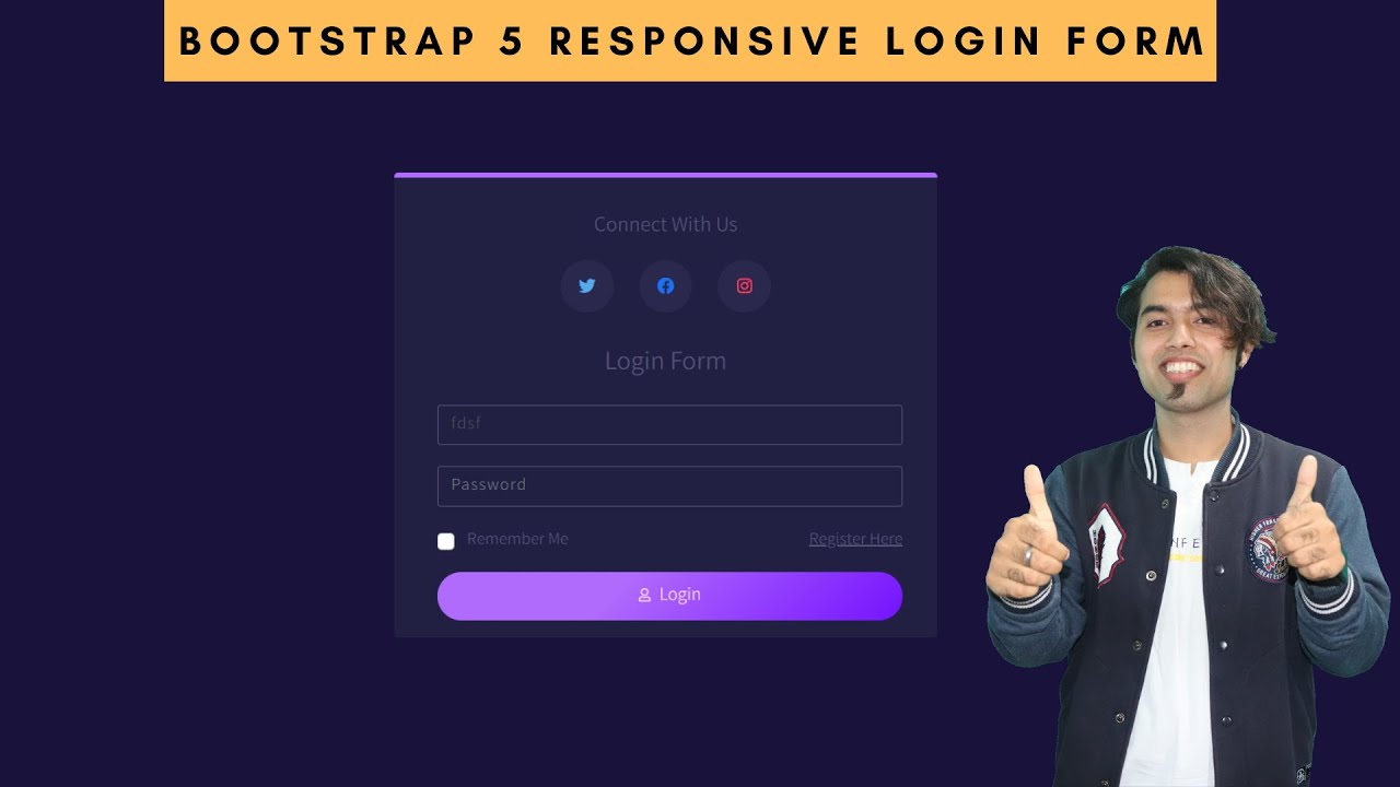 Responsive Animated Login Form using HTML, CSS and Bootstrap 5