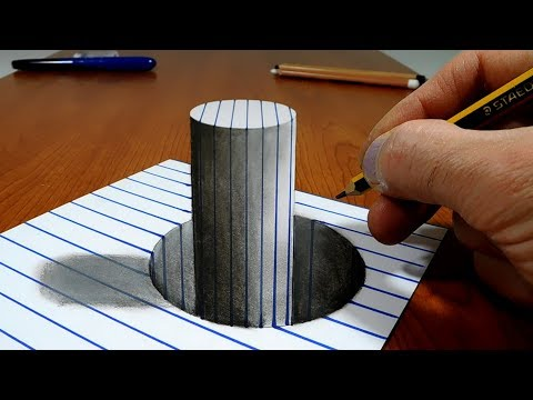 3D Trick Art on Line Paper   Stick in the Hole