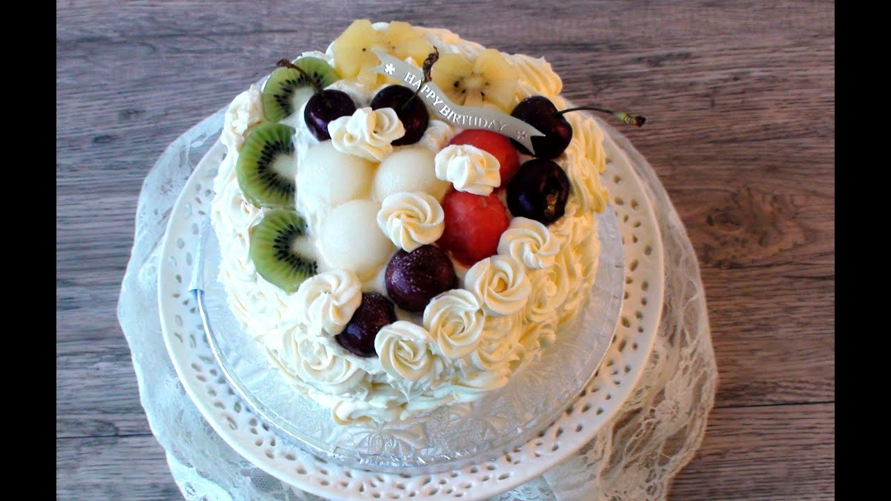 How To Make Birthday Fruit Cake Mixed Fruit Cream Cake