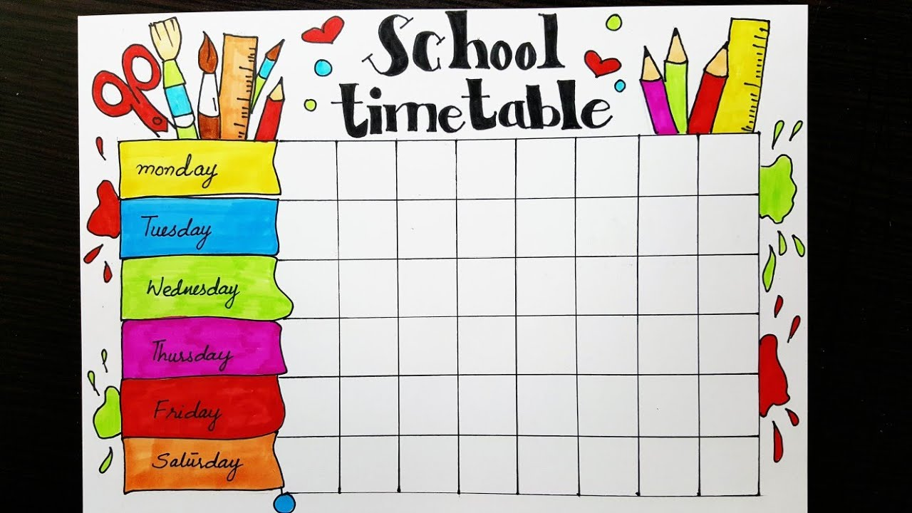 Quroart quroartdrawing also school timetable design how to draw and color easy step by rh youtube